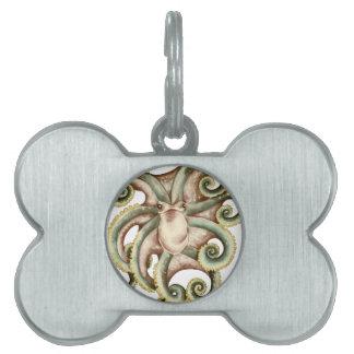 Greenish octopus pet ID tag