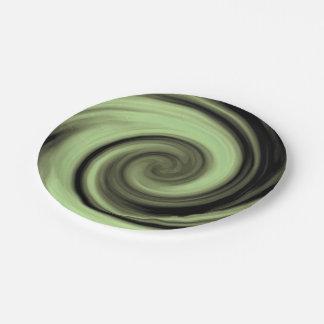 Greenish Swirl Paper Plate