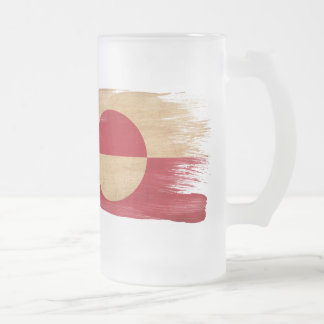Greenland Flag Frosted Glass Beer Mug