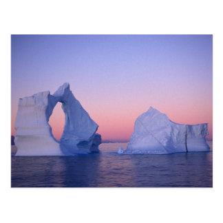 Greenland, Iceberg at sunset. Postcard