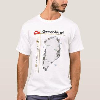 Greenland Map + Flag + Title T-Shirt
