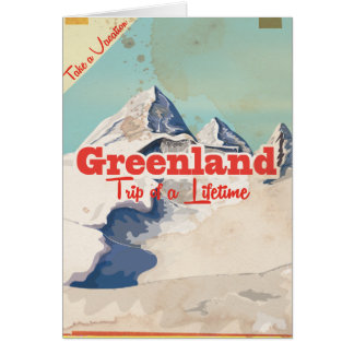 Greenland vintage travel poster card