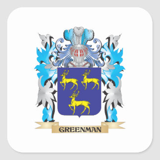 Greenman Coat of Arms - Family Crest Stickers
