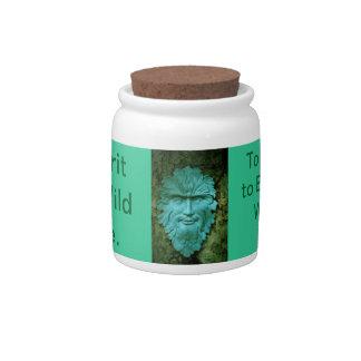Greenman Herb & Treat Jar. Candy Dish