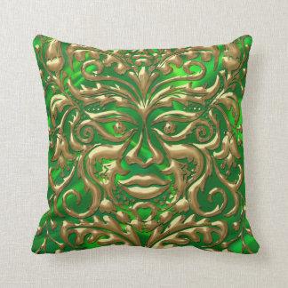 GreenMan in liquid gold damask green satin print Throw Pillow
