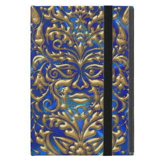 GreenMan in liquid gold damask on blue satin print iPad Mini Cover