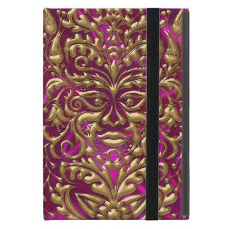 GreenMan liquid gold damask on pink satin print Cases For iPad Mini