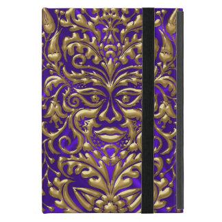 GreenMan liquid gold damask on purple satin print Case For iPad Mini