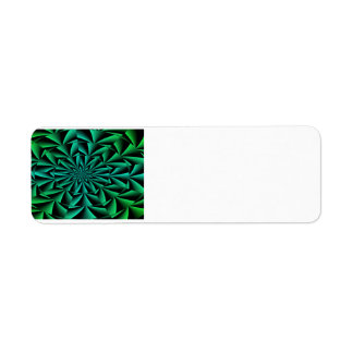 Greens and Blues Round Optical Illusion Return Address Label