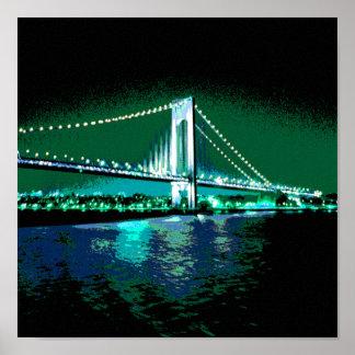 Greens & Blues Bridge print