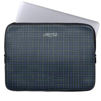 Greens Blues Scottish-style Tartan Plaid Monogram Laptop Computer Sleeve