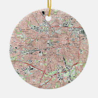 Greensboro North Carolina Map (1997) Ceramic Ornament