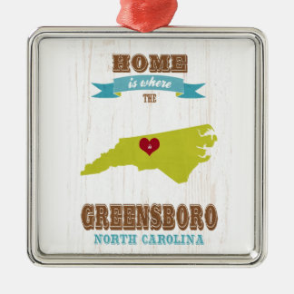 Greensboro, North Carolina Map – Home Is Where The Metal Ornament