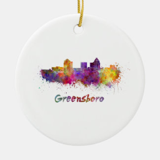 Greensboro skyline in watercolor ceramic ornament