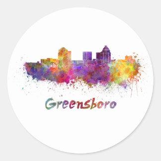 Greensboro skyline in watercolor classic round sticker