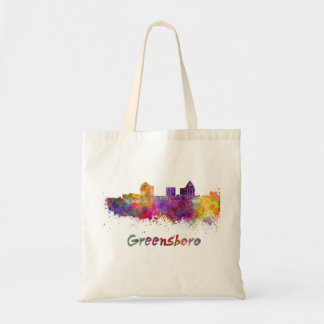 Greensboro skyline in watercolor tote bag