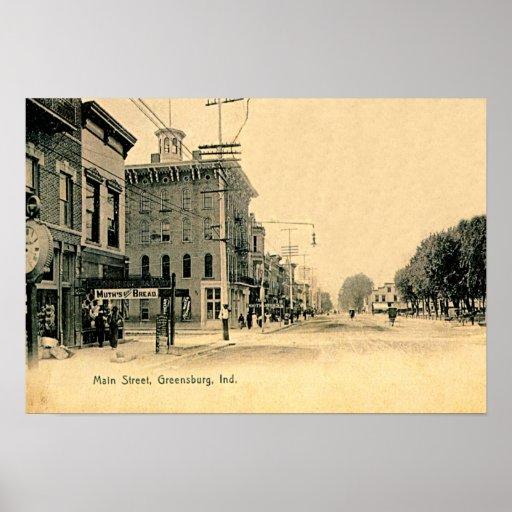 Greensburg, Indiana Main Street 1905 Print