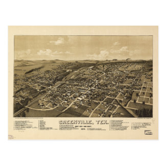 Greenville Hunt County Texas Map (1886) Postcard