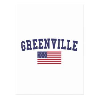 Greenville NC US Flag Postcard