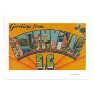 Greenville, South Carolina - Large Letter Scenes Postcard