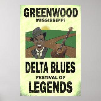 Greenwood Mississippi Delta Blues Poster