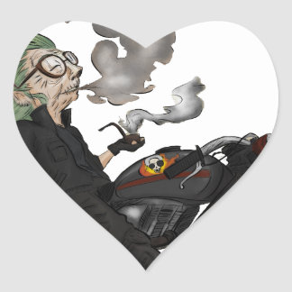 Greeny Granny on motorcycle Heart Sticker