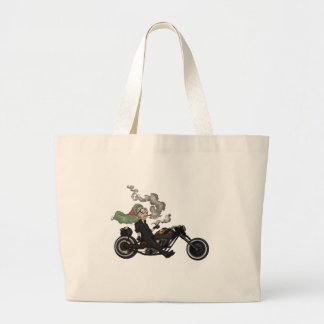 Greeny Granny on motorcycle Large Tote Bag