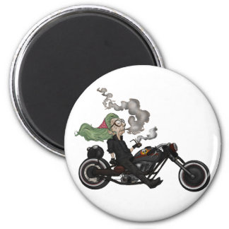 Greeny Granny on motorcycle Magnet
