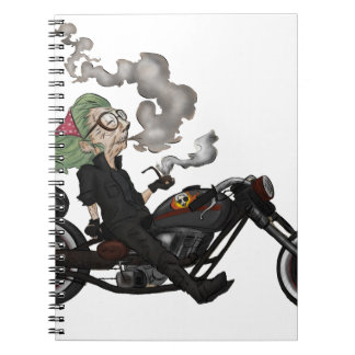 Greeny Granny on motorcycle Notebooks