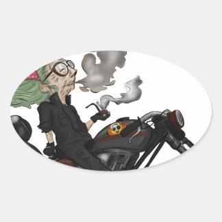 Greeny Granny on motorcycle Oval Sticker