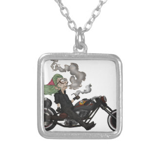 Greeny Granny on motorcycle Silver Plated Necklace