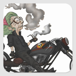 Greeny Granny on motorcycle Square Sticker