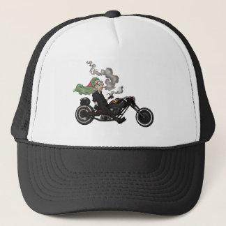 Greeny Granny on motorcycle Trucker Hat