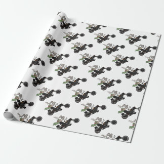 Greeny Granny on motorcycle Wrapping Paper