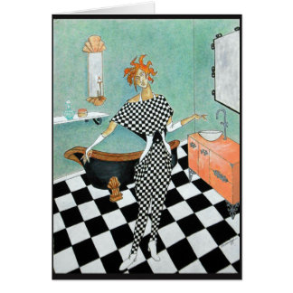Greeting Card--Art Deco Woman in Bathroom Card