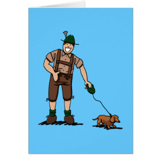 Greeting Card Bavarian Lederhosen Man Dachshund Do