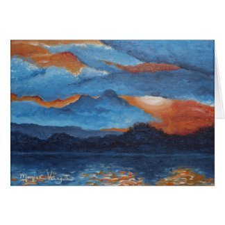 Greeting Card -- Blazing Sunset at Lake Winona