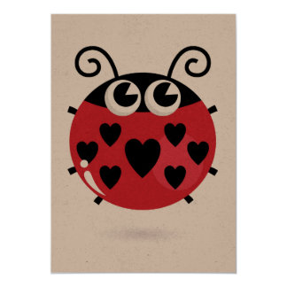 Greeting card brown with little Red bee