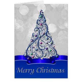 Greeting Card - Cobalt Swirls Tree