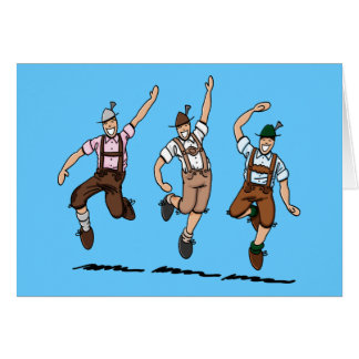 Greeting Card Dancing Bavarian Lederhosen Men