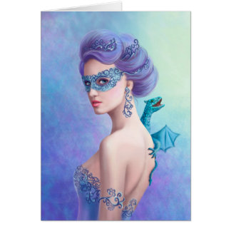 Greeting Card Fantasy winter woman, beautiful