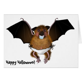Greeting Card, Halloween cute baby bat Card