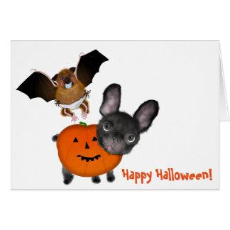 Greeting Card, Halloween cute bulldog & bat. Greeting Card