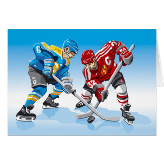Greeting Card Ice Hockey Player Face-Off