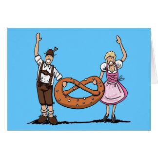 Greeting Card Oktoberfest Couple Pretzel