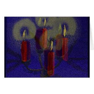 Greeting Card red candles & blue shiny background