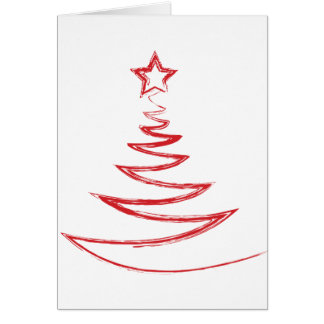 Greeting Card--Red Doodle Christmas Tree Greeting Card