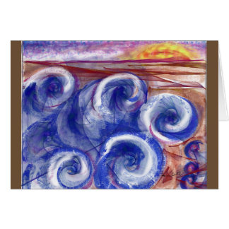 Greeting card rolling waves thinking of you