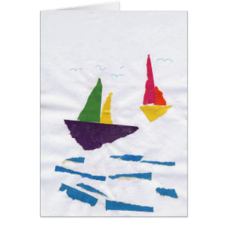 "GREETING CARD ""Sailboats on the Ocean"" by K' Duong"