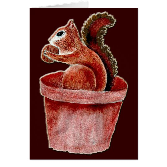 GREETING CARD - Squirrel Eating Nut in Flower Pot